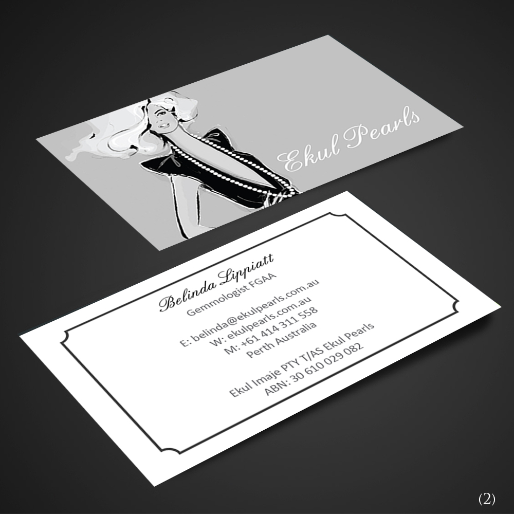 Elegant professional business card design for ekul pearls by business card design by designanddevelopment for sale of south sea and tahitian pearl jewellery online reheart Gallery