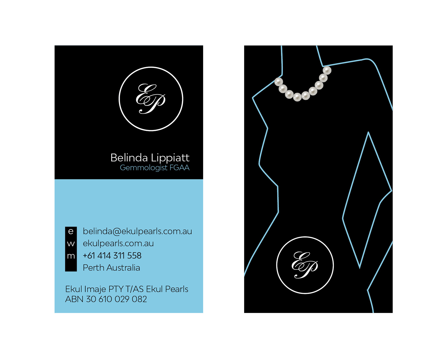 Elegant professional business card design for ekul pearls by business card design by richman 2 for sale of south sea and tahitian pearl jewellery reheart Gallery