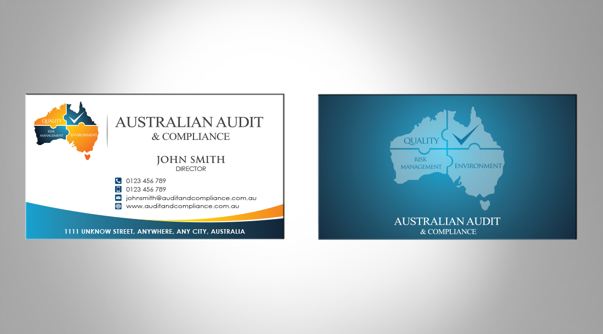 Modern professional business business card design for australian business card design by mt for australian audit compliance design 2386713 reheart Gallery