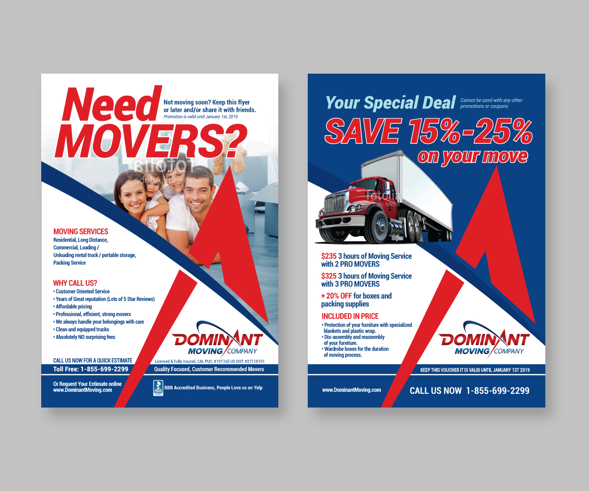 flyer design by mariadesign for dominant moving systems design 12210090