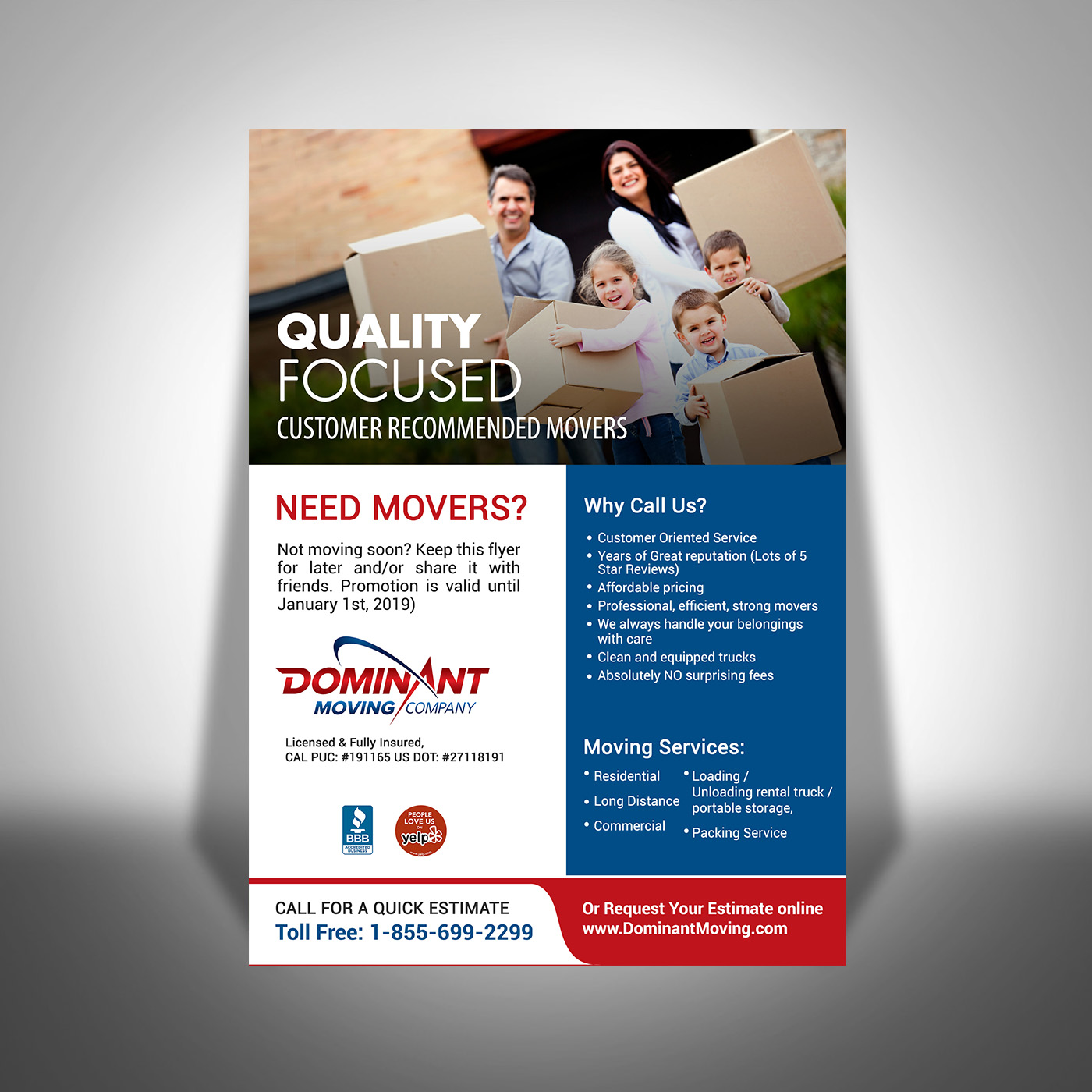flyer design by creativebugs for dominant moving systems design 12926752
