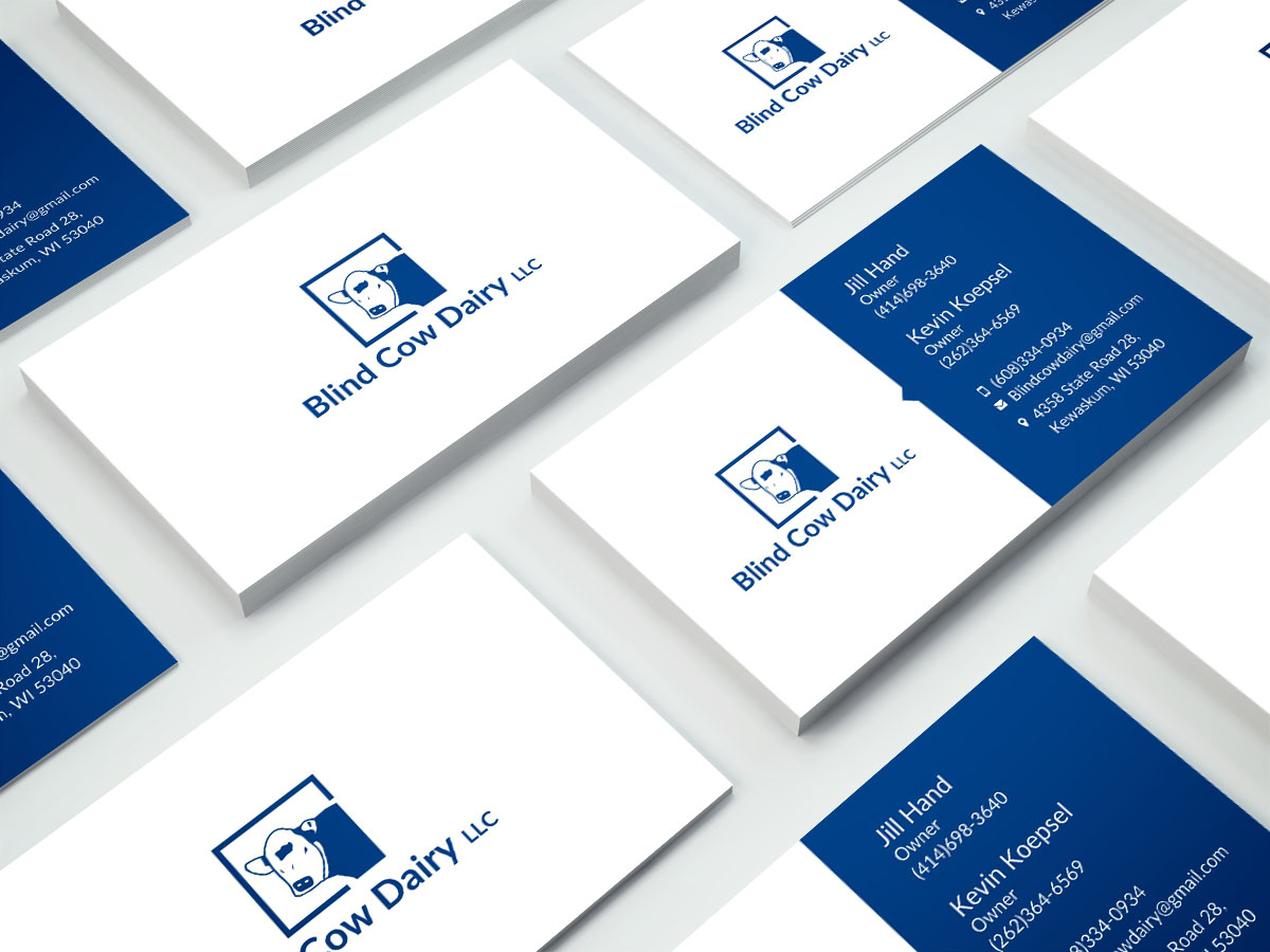 Professional serious business card design for jill hand by poonam business card design by poonam gupta for blind cow dairy business cards design 12133012 colourmoves