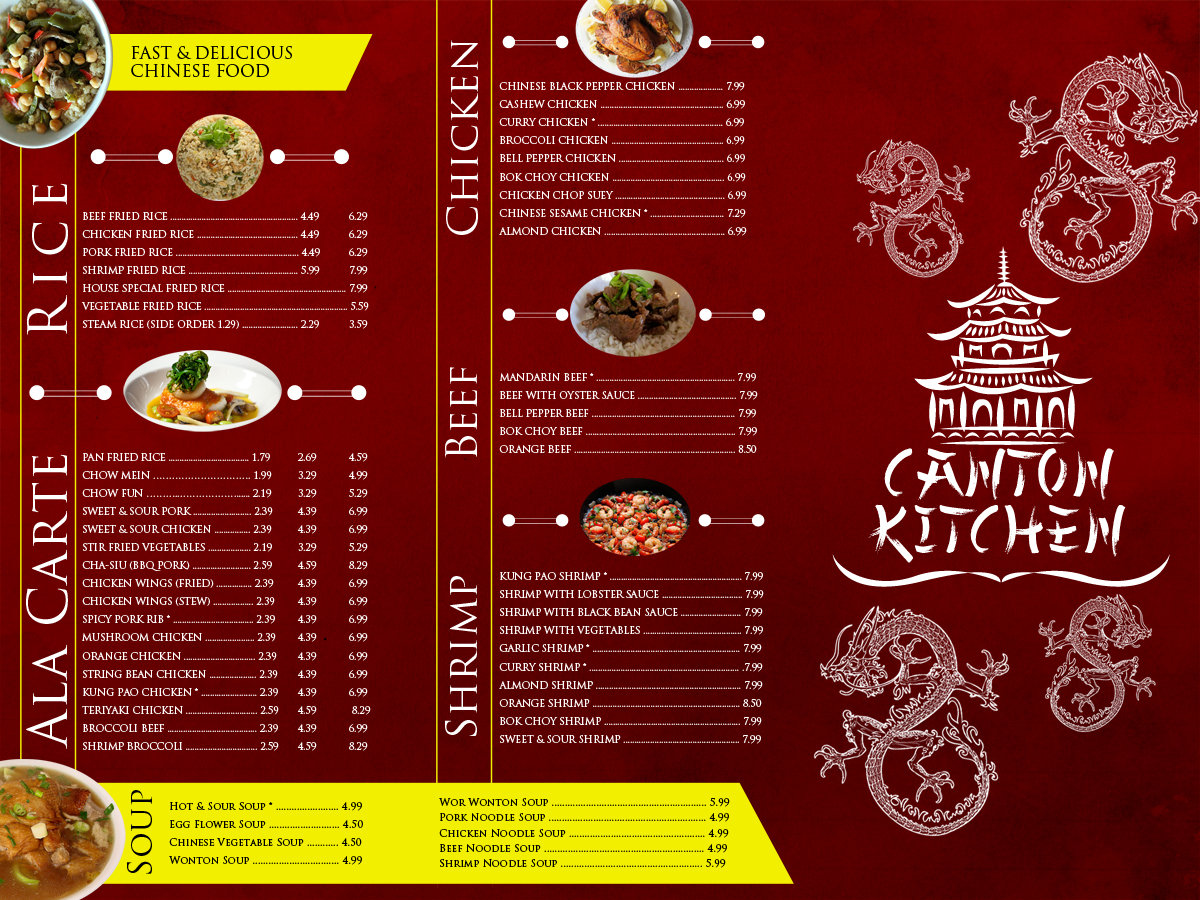 Asian Menu Design Ideas