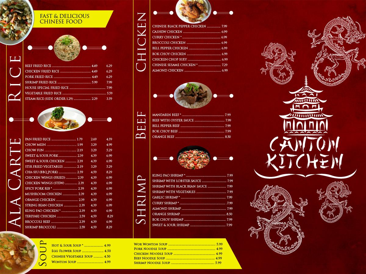 Chinese restaurant menu and simple logo menu design for Asian cuisine menu