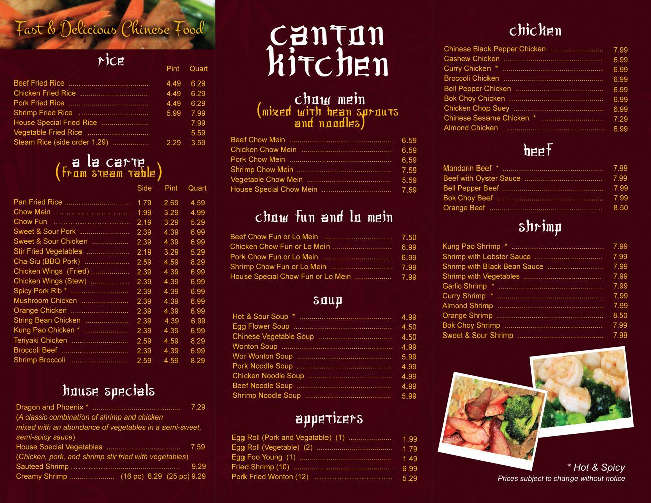 Elegant playful fast food restaurant menu design for a
