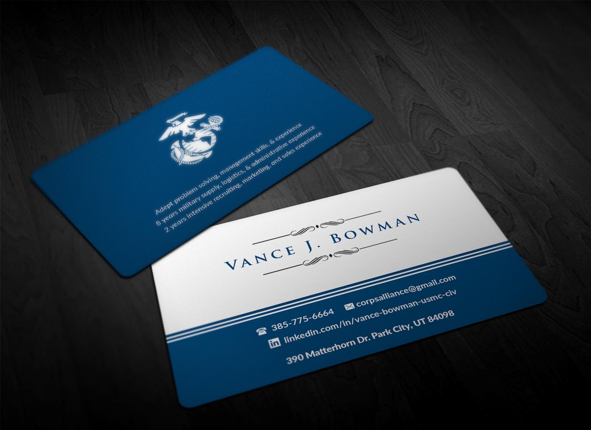 Elegant playful business card design for vance bowman by business card design by pointless pixels india for careerjob seeking marine veteran design magicingreecefo Gallery