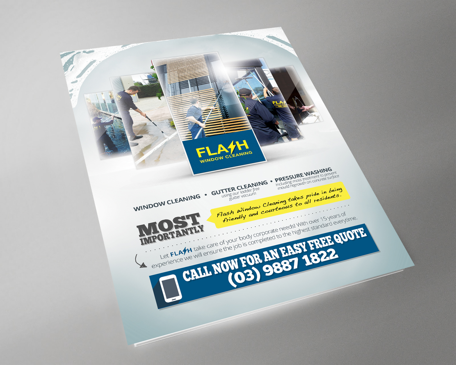 serious professional flyer design for flash window cleaning by flyer design by brian ellis for window cleaning flyer targeting body corporates design 12223294