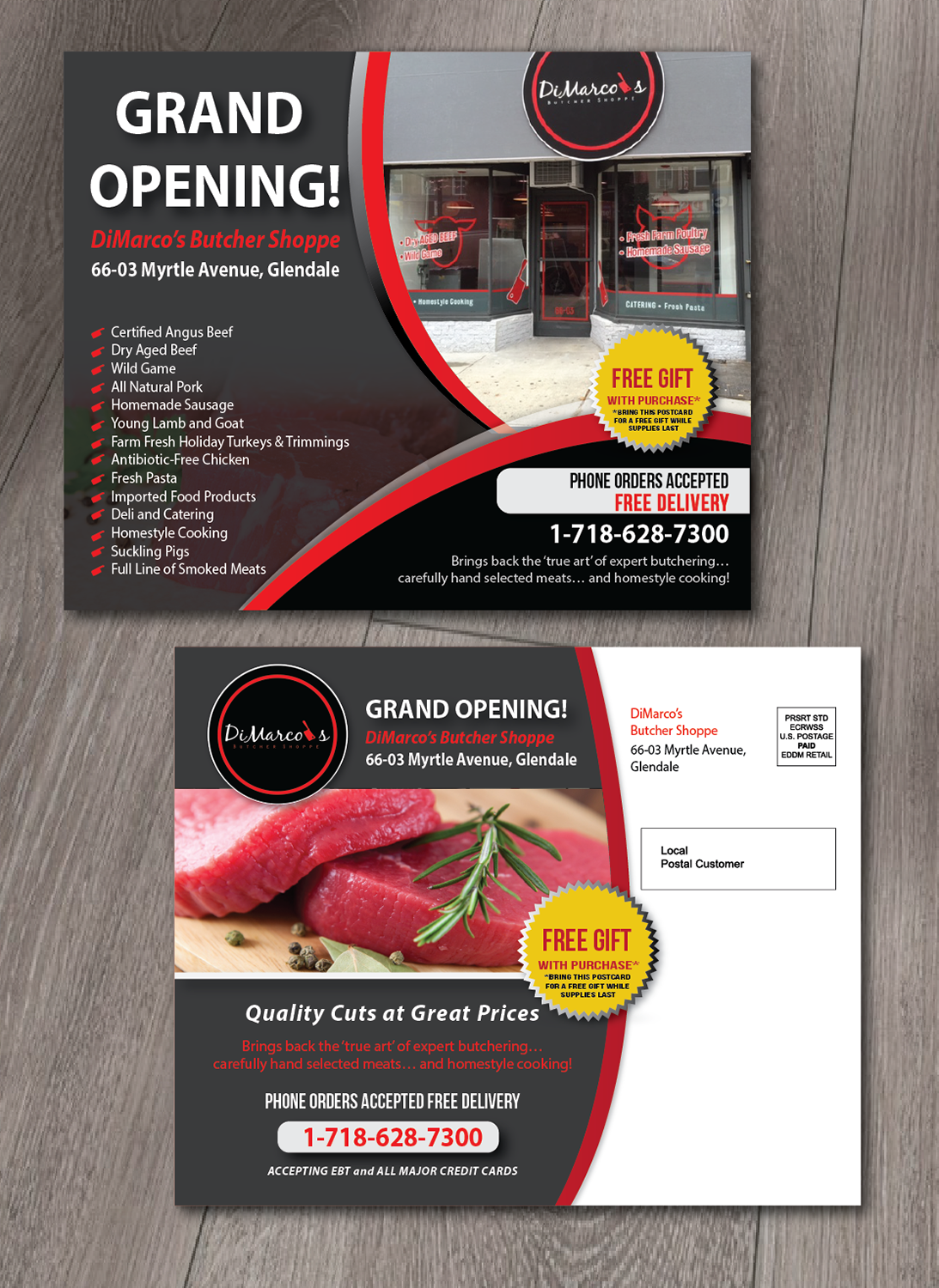 elegant playful food store postcard design for a company by