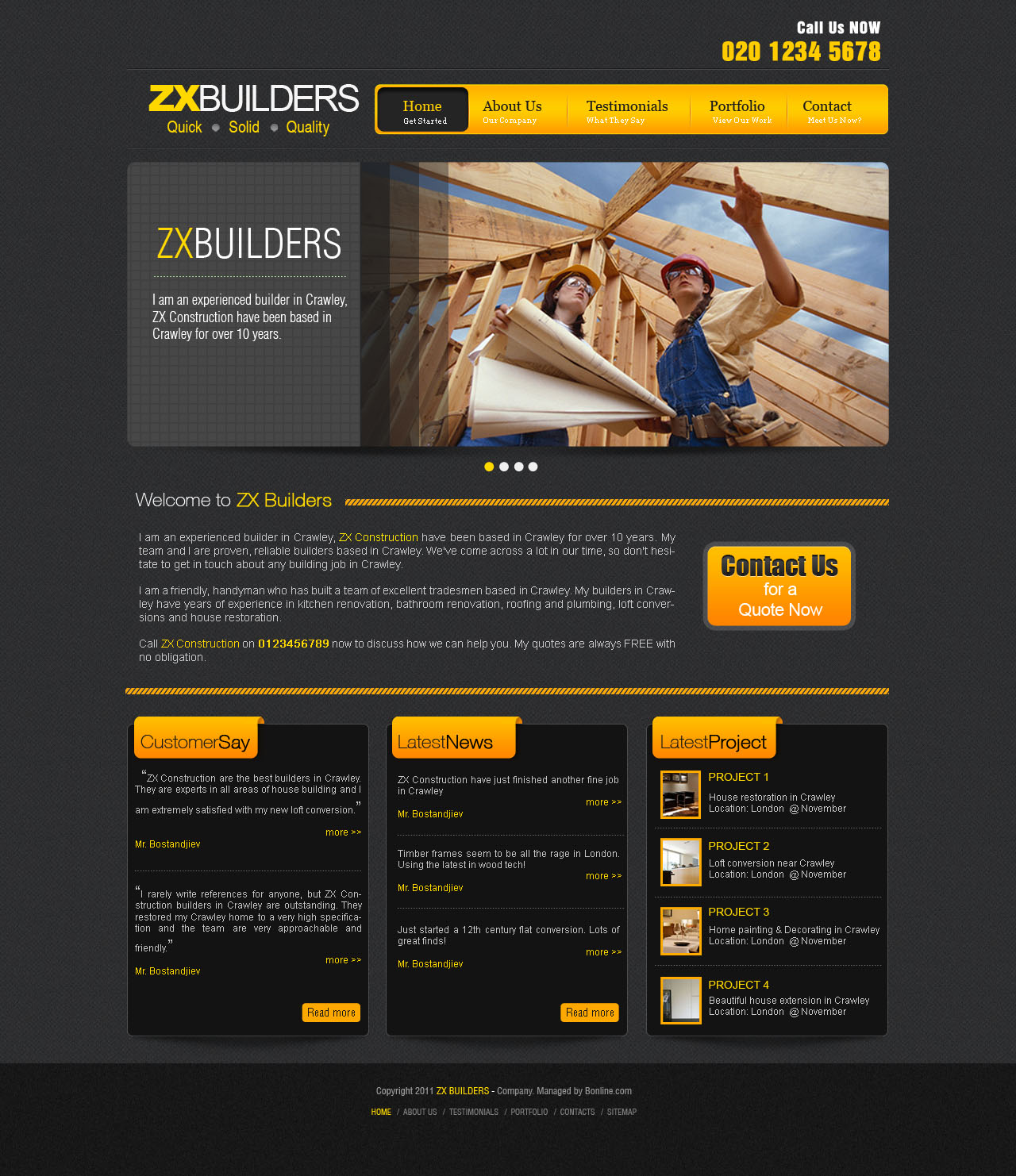 Masculine colorful business web design for bonline ltd for Masculine web design