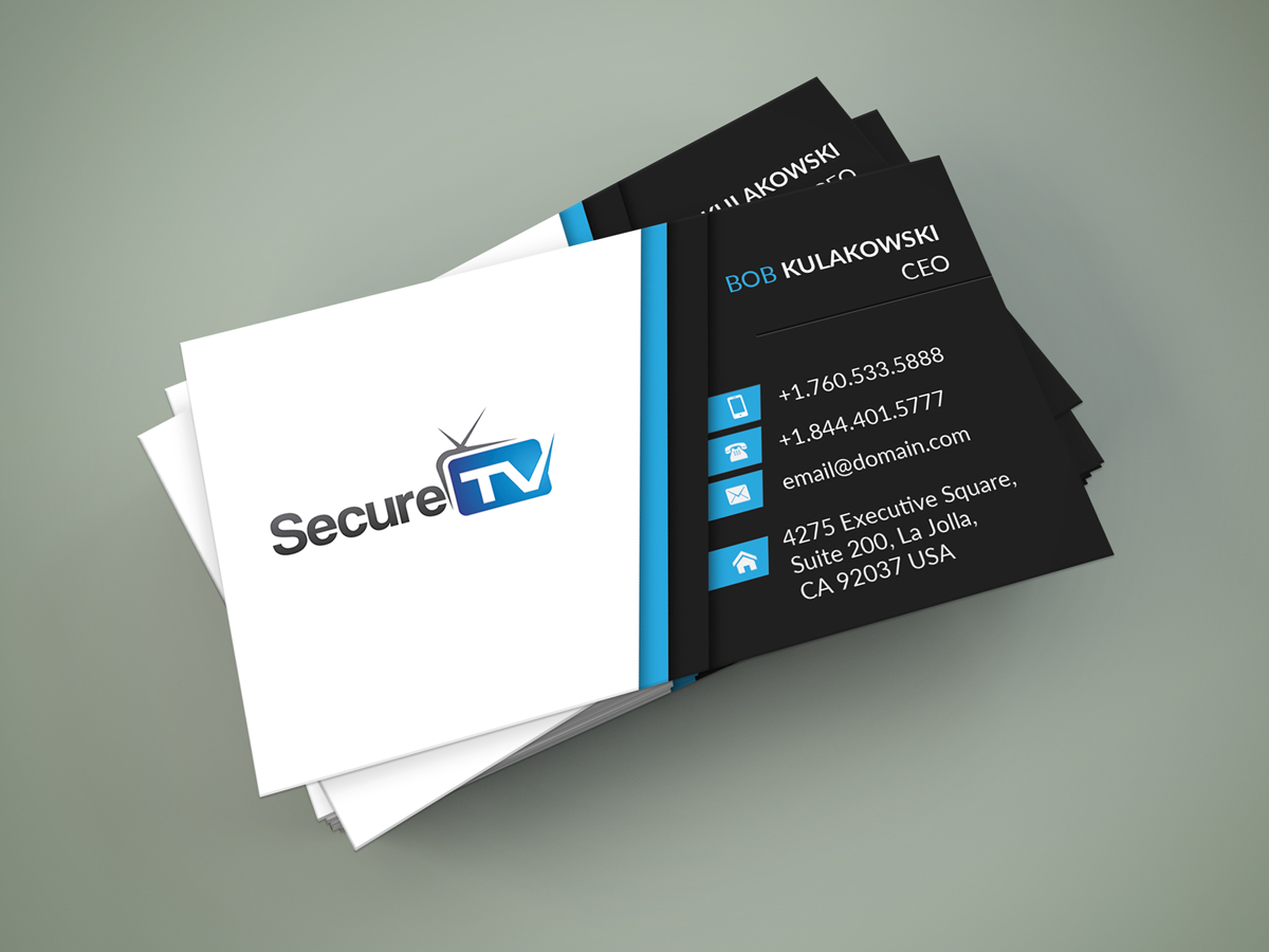 Professional serious cable tv business card design for secure tv business card design by selda for secure tv design 12322471 colourmoves