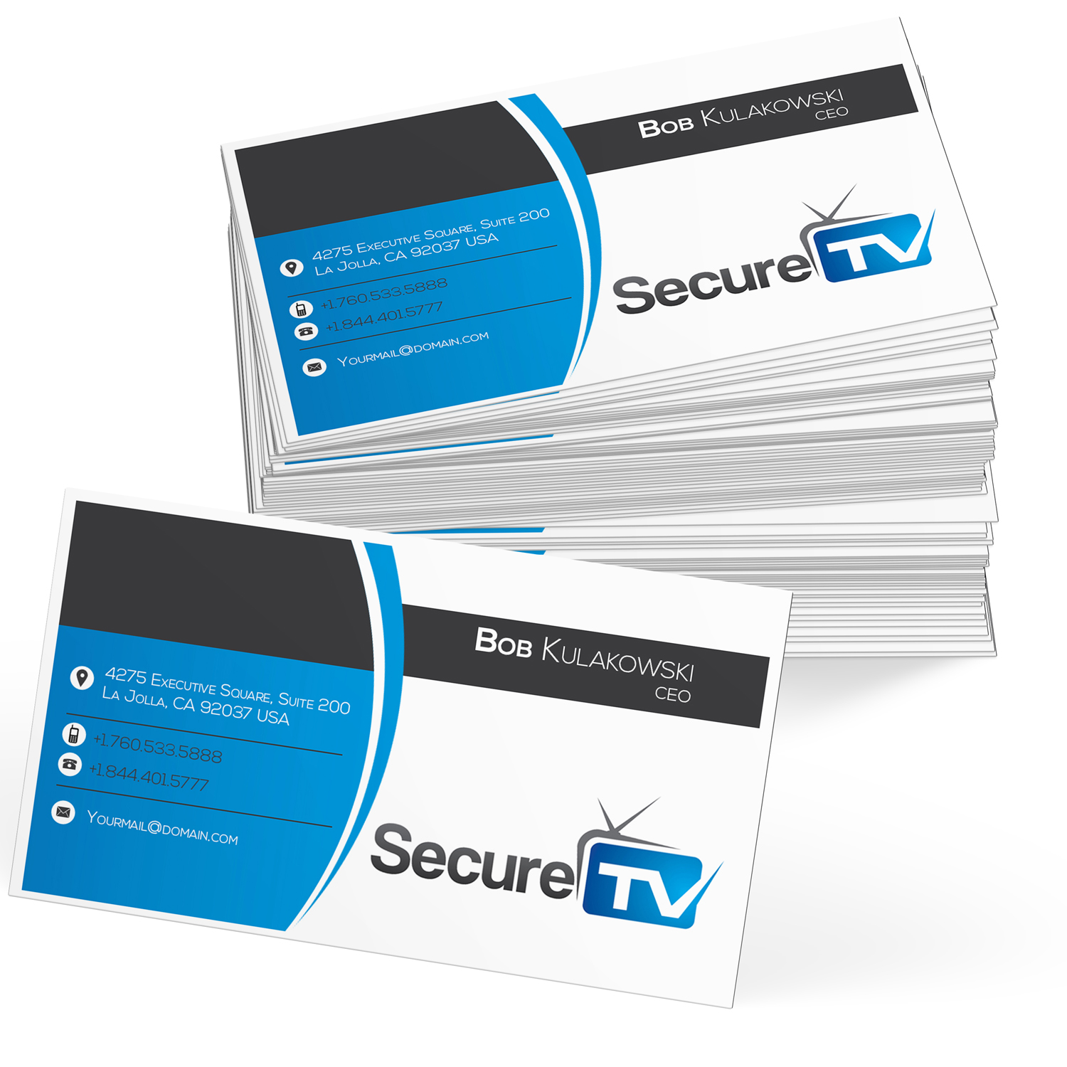 Professional serious cable tv business card design for secure tv business card design by souravdey1983 for secure tv design 12363749 reheart Images