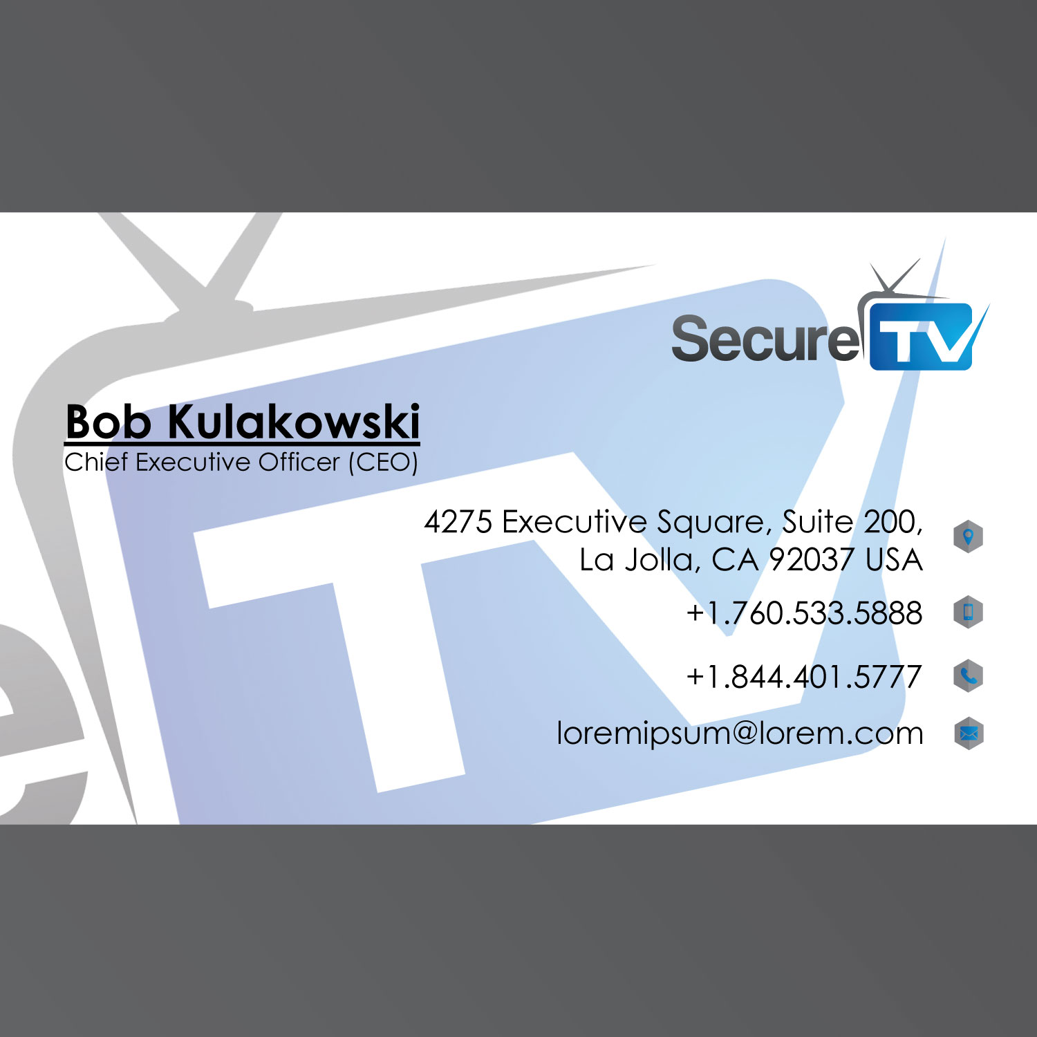 professional serious cable tv business card design for secure tv