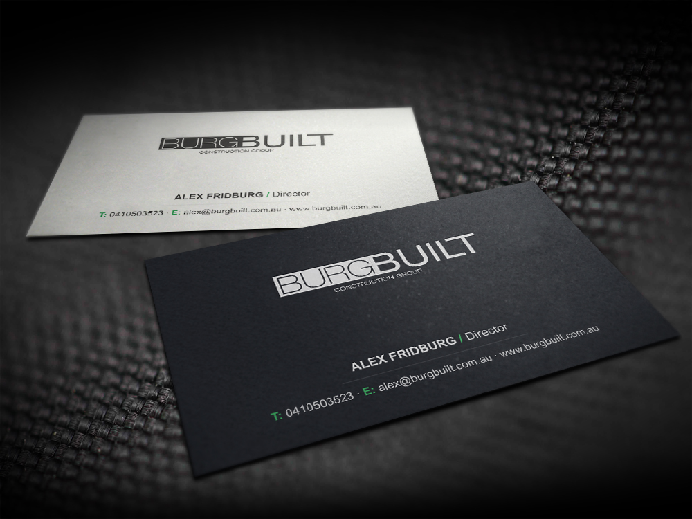 Modern upmarket business card design for alex fridburg by business card design by logodentity for burg build business cards design 2404916 colourmoves Gallery