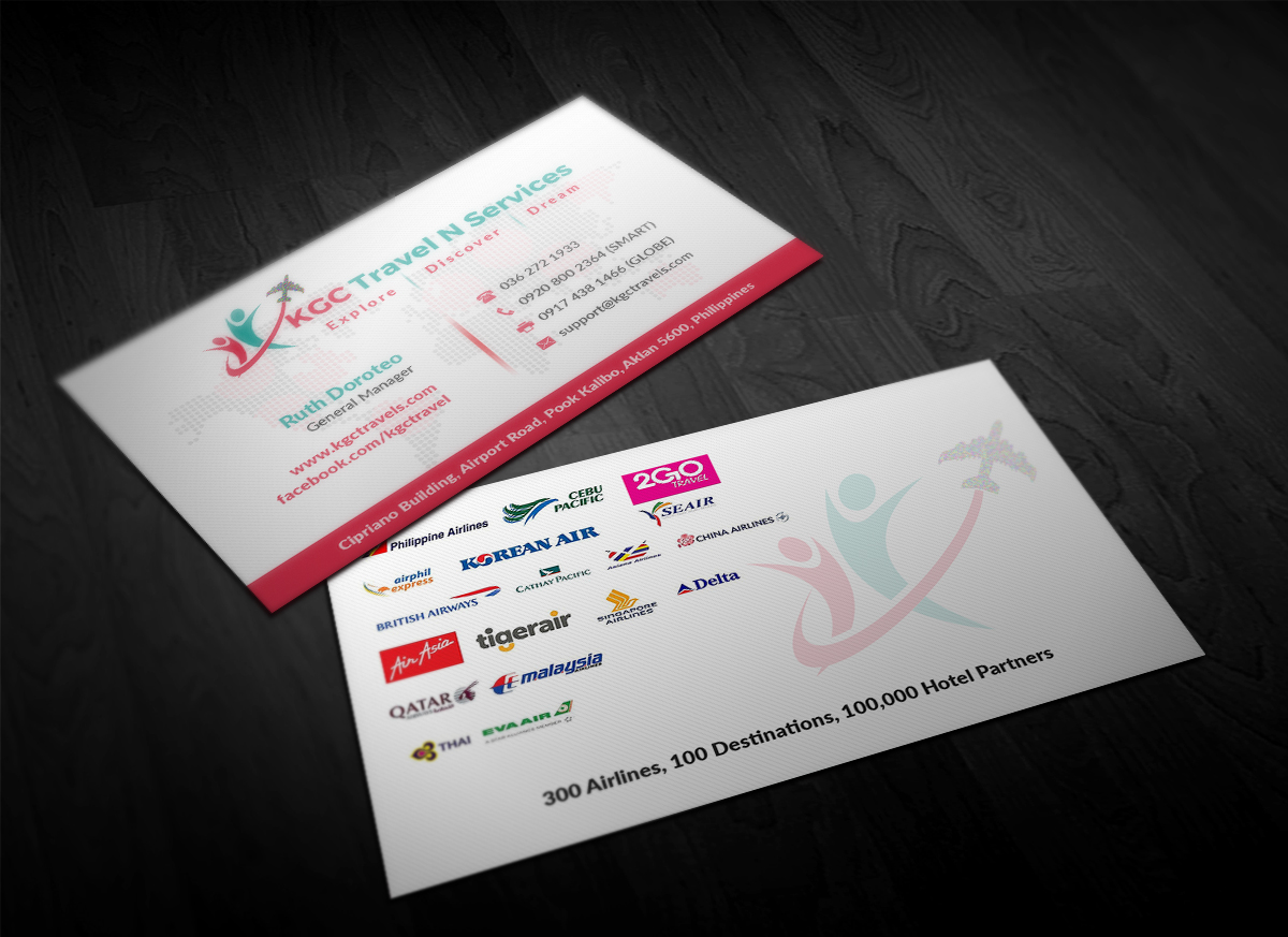 Bold professional travel industry business card design for kgc bold professional travel industry business card design for kgc travel n services in philippines design 12347697 reheart Choice Image
