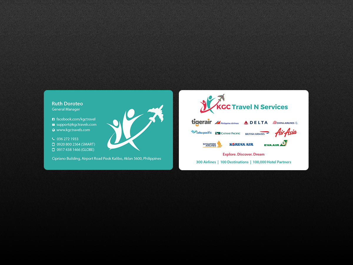 Bold professional business card design for kgc travel n services business card design by creations box 2015 for unique name card for travel agency design magicingreecefo Image collections