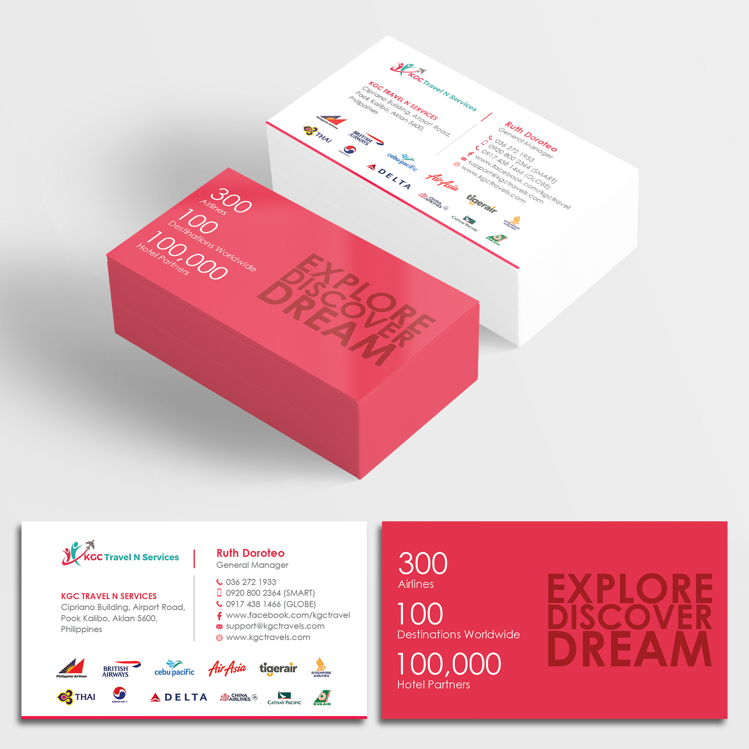 bold professional business card design for kgc travel n services