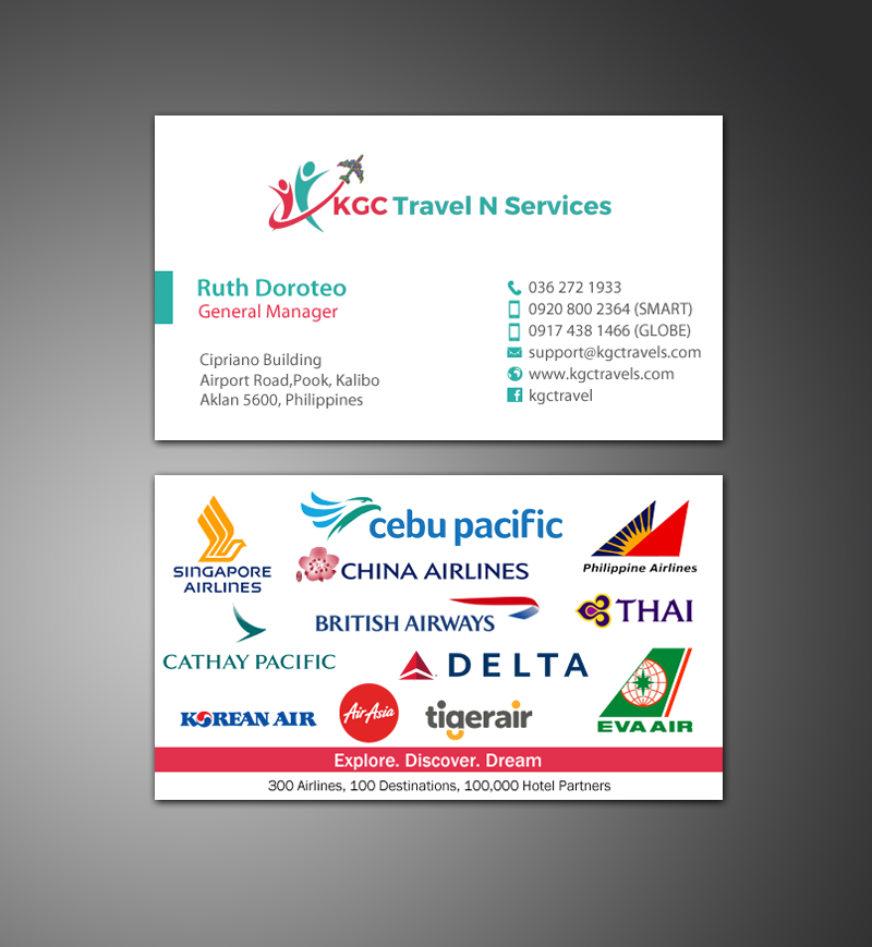 Bold professional travel industry business card design for kgc bold professional travel industry business card design for kgc travel n services in philippines design 12358231 reheart Images