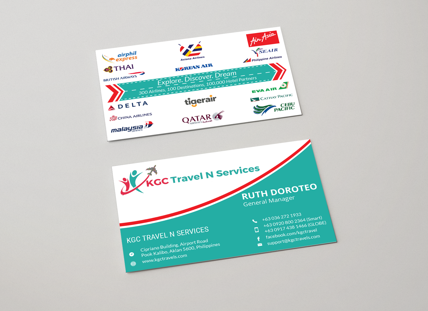 Bold professional travel industry business card design for kgc business card design by green up for kgc travel n services design 12353423 reheart Images