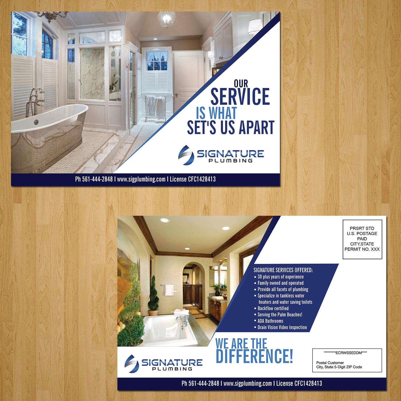 Elegant Traditional Postcard Design For Signature Plumbing Inc - Us zip codes plus 4