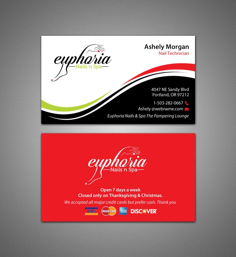 Elegant traditional business card design for truc le by chandrayaan business card design by chandrayaaneative for business card with logo euphoria nails spa colourmoves