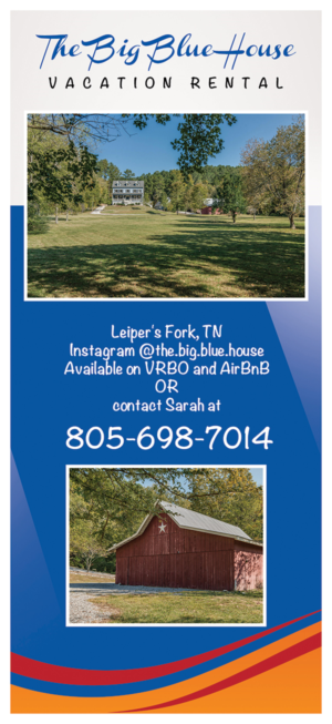 The Big Blue House rack card - used to advertise the home for rent