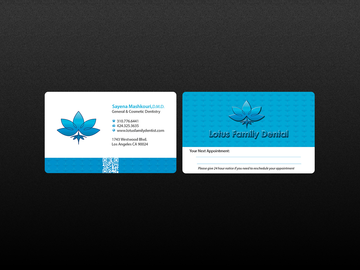 Elegant serious business card design for lotus family dental by business card design by creations box 2015 for business card for dental office design reheart Image collections