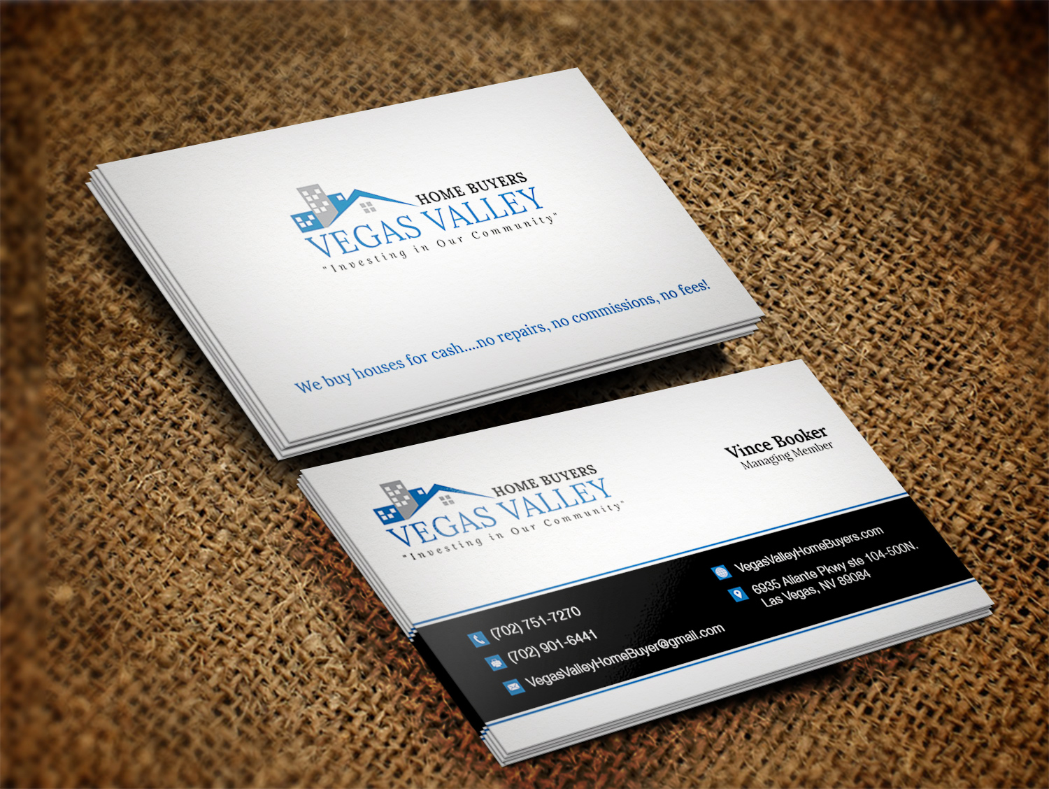 Modern professional real estate business card design for vegas business card design by pawana designs for this project design 12422710 buy a reheart Image collections