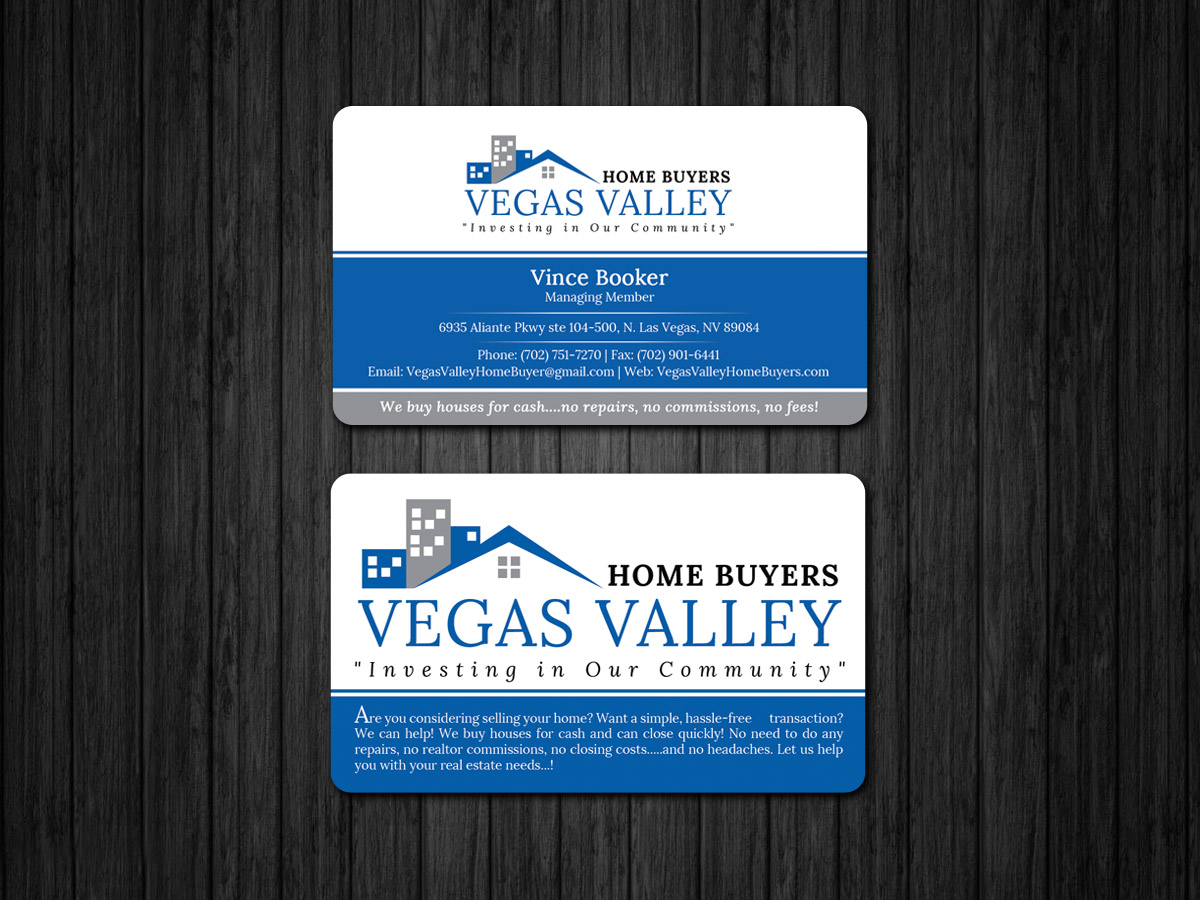 Modern professional real estate business card design for vegas business card design by sandaruwan for this project design 12425542 buy a reheart Image collections