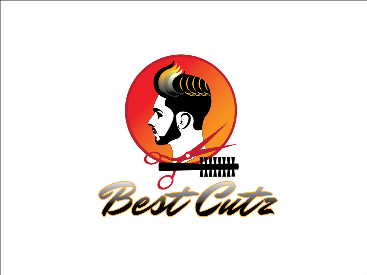 Masculine Upmarket Barber Logo Design For Best Cutz By Wonderful