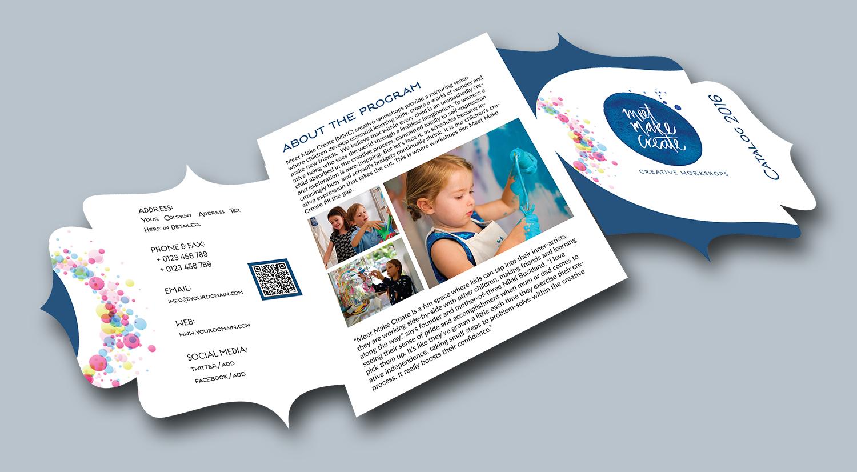 modern playful business flyer design for meet make create pty ltd