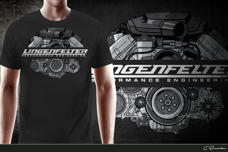 Masculine Bold Automotive T Shirt Design For Lingenfelter Race