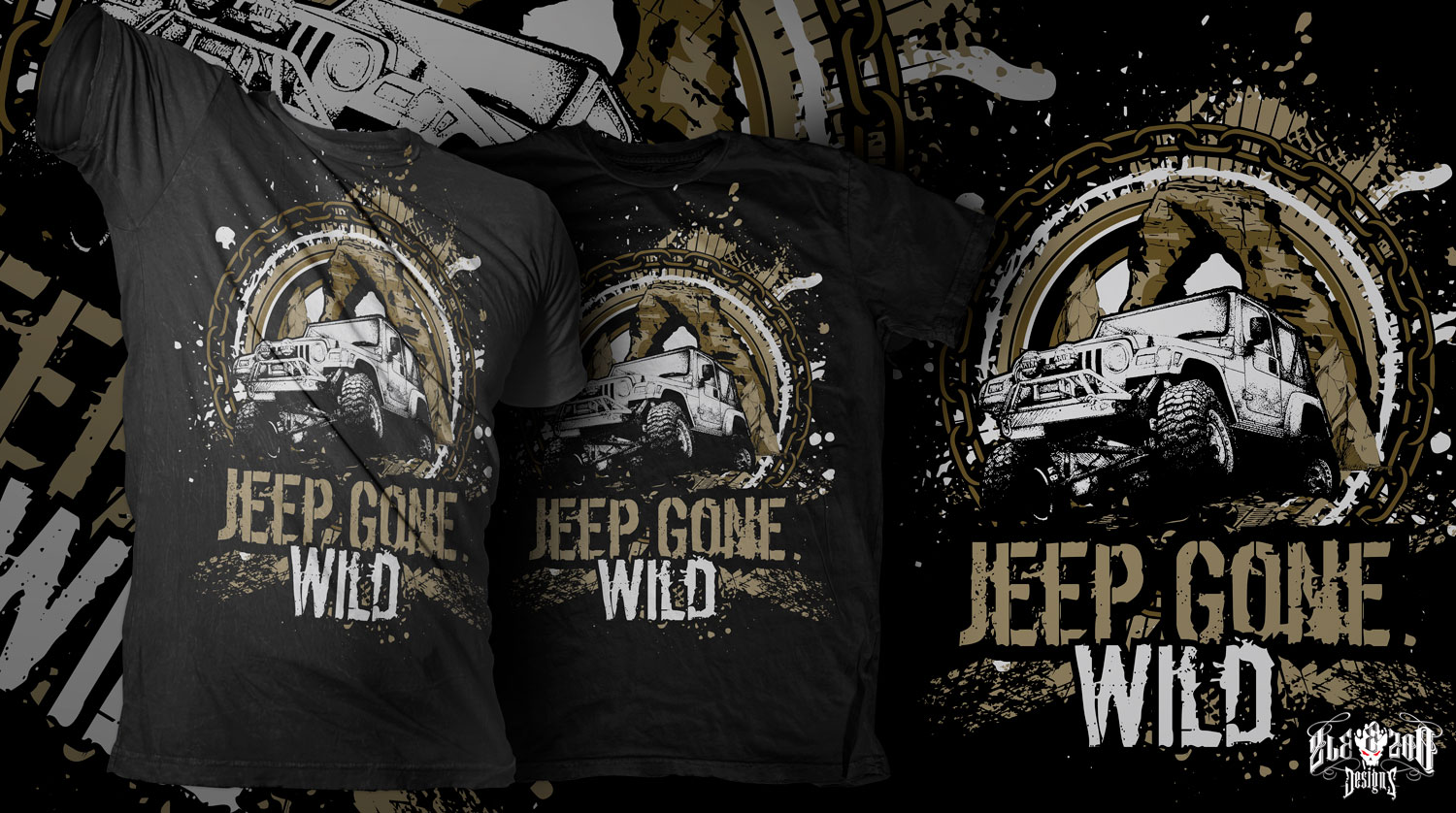 Modern Bold Tshirt Design For Jeep Gone Wild By Zleezoo Design - Jeep t shirt design