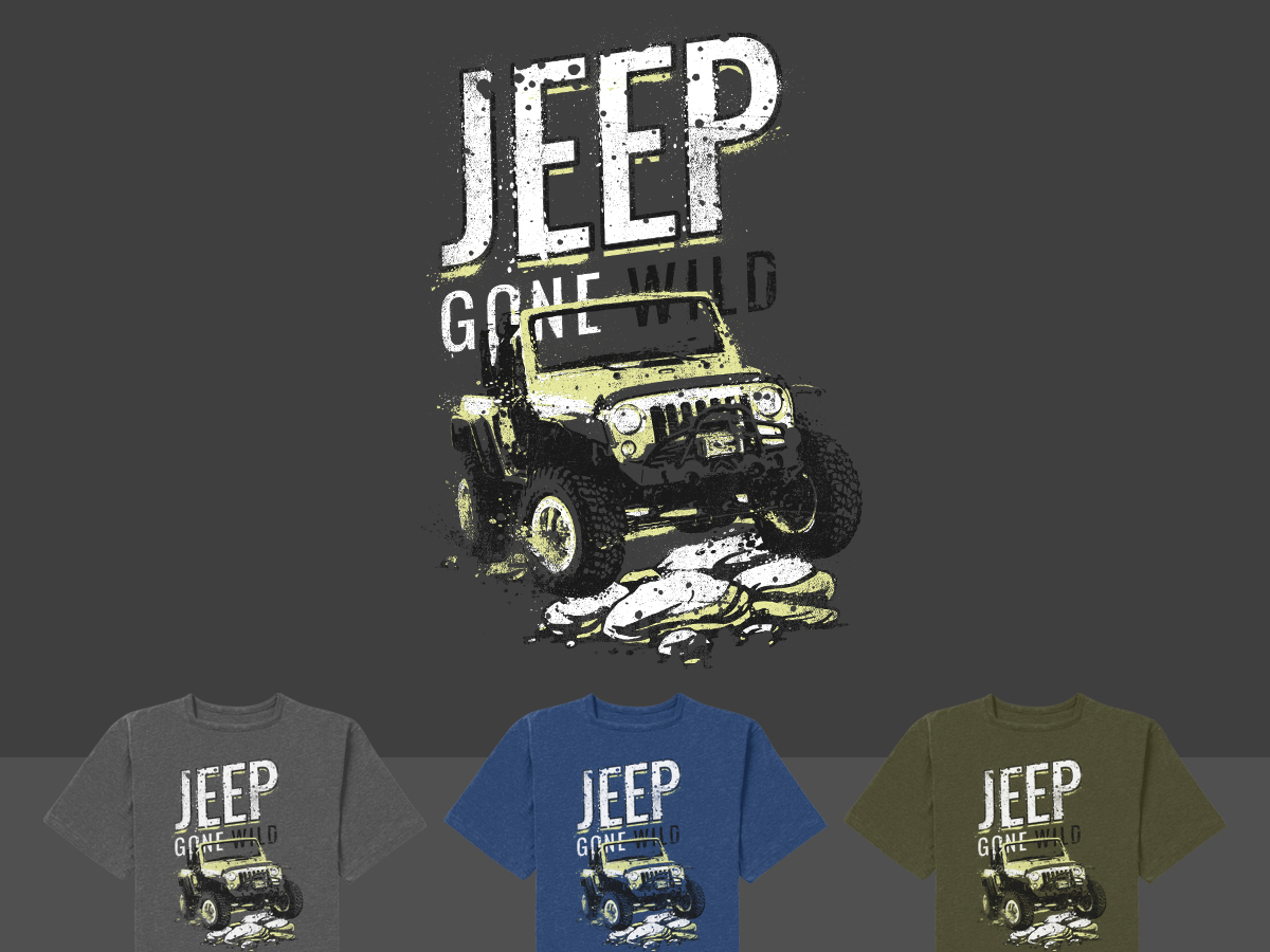 Modern Bold Tshirt Design For Jeep Gone Wild By STierney - Jeep t shirt design