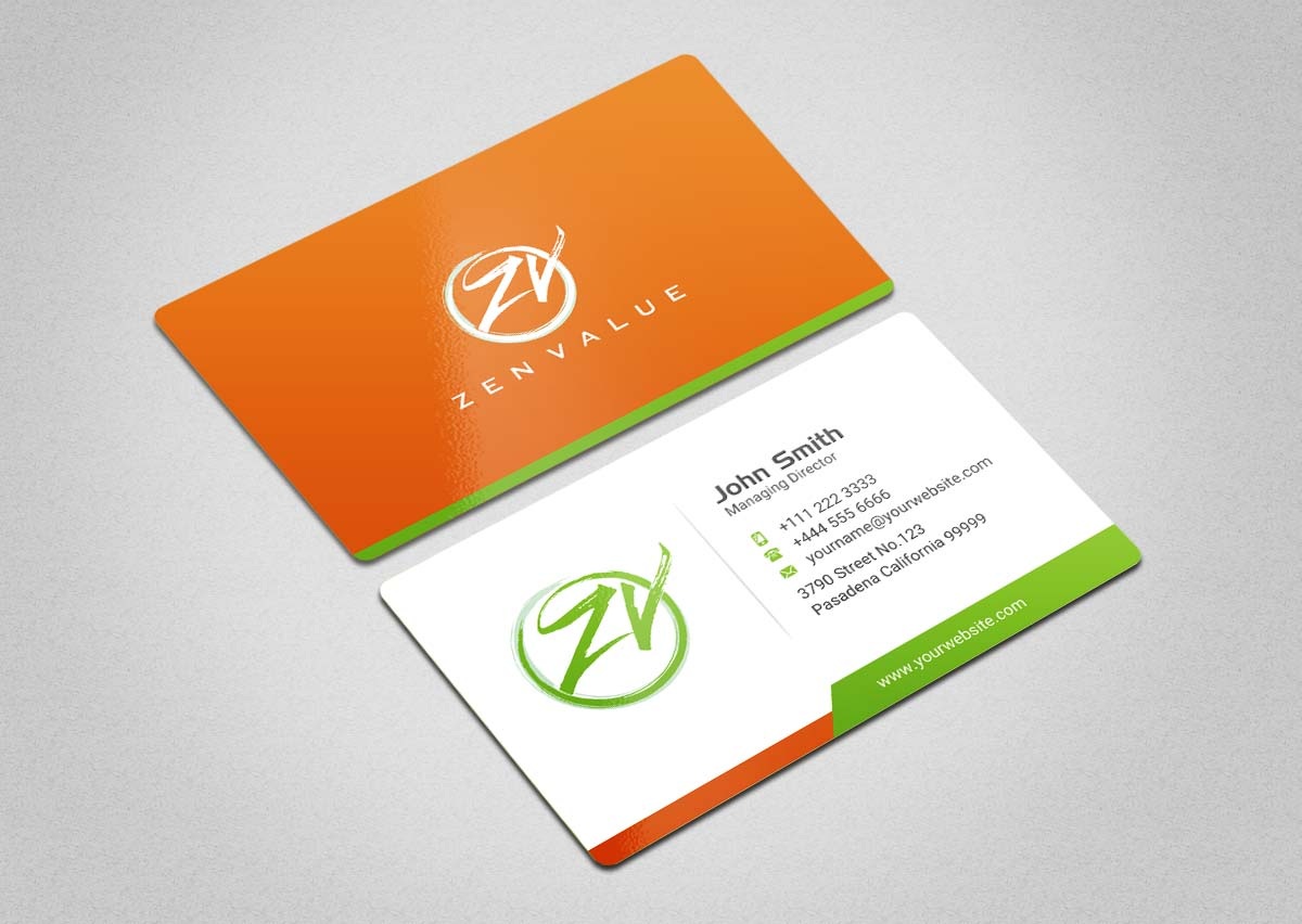 Upmarket bold business card design for zen value by indianashok business card design by indianashok for zen value two sides business card size 85 colourmoves Image collections