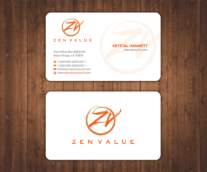 217 upmarket business card designs management consulting business business card design by stylez designz for zen value design 12682546 colourmoves