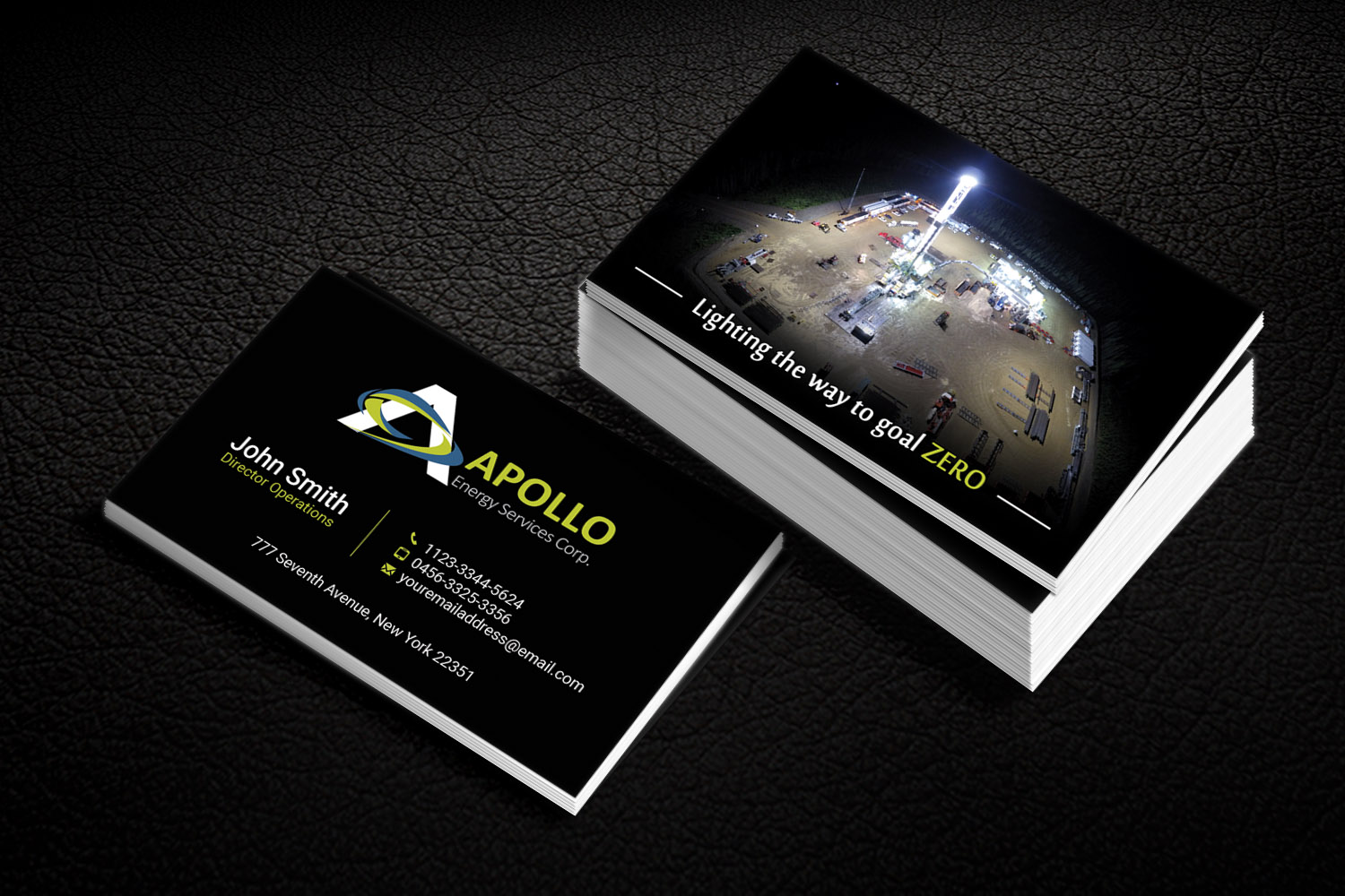 Upmarket, Bold, Oil And Gas Business Card Design for Apollo Service