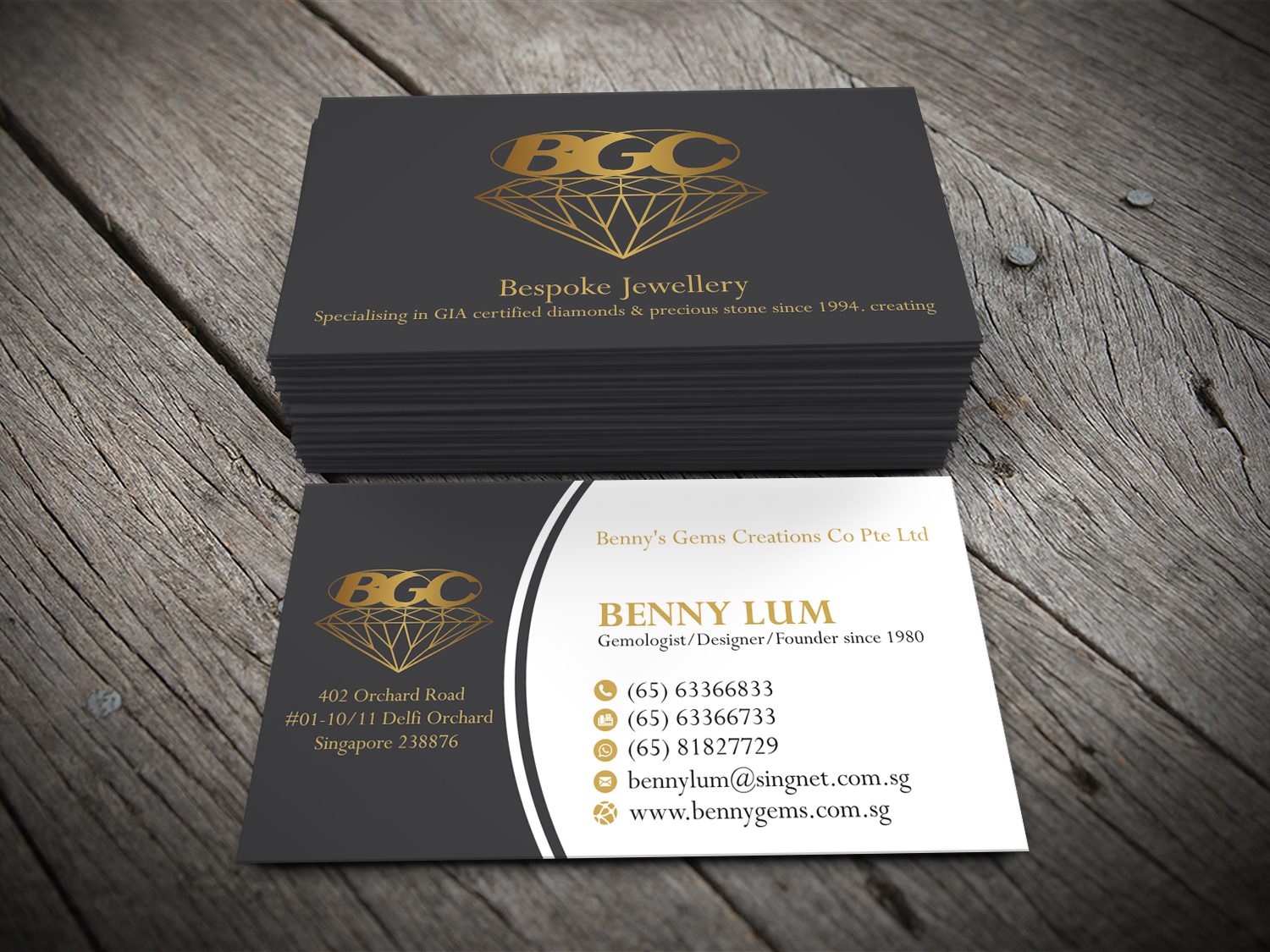 Professional upmarket jewelry store business card design for a business card design by alhemique1 for this project design 12678087 reheart