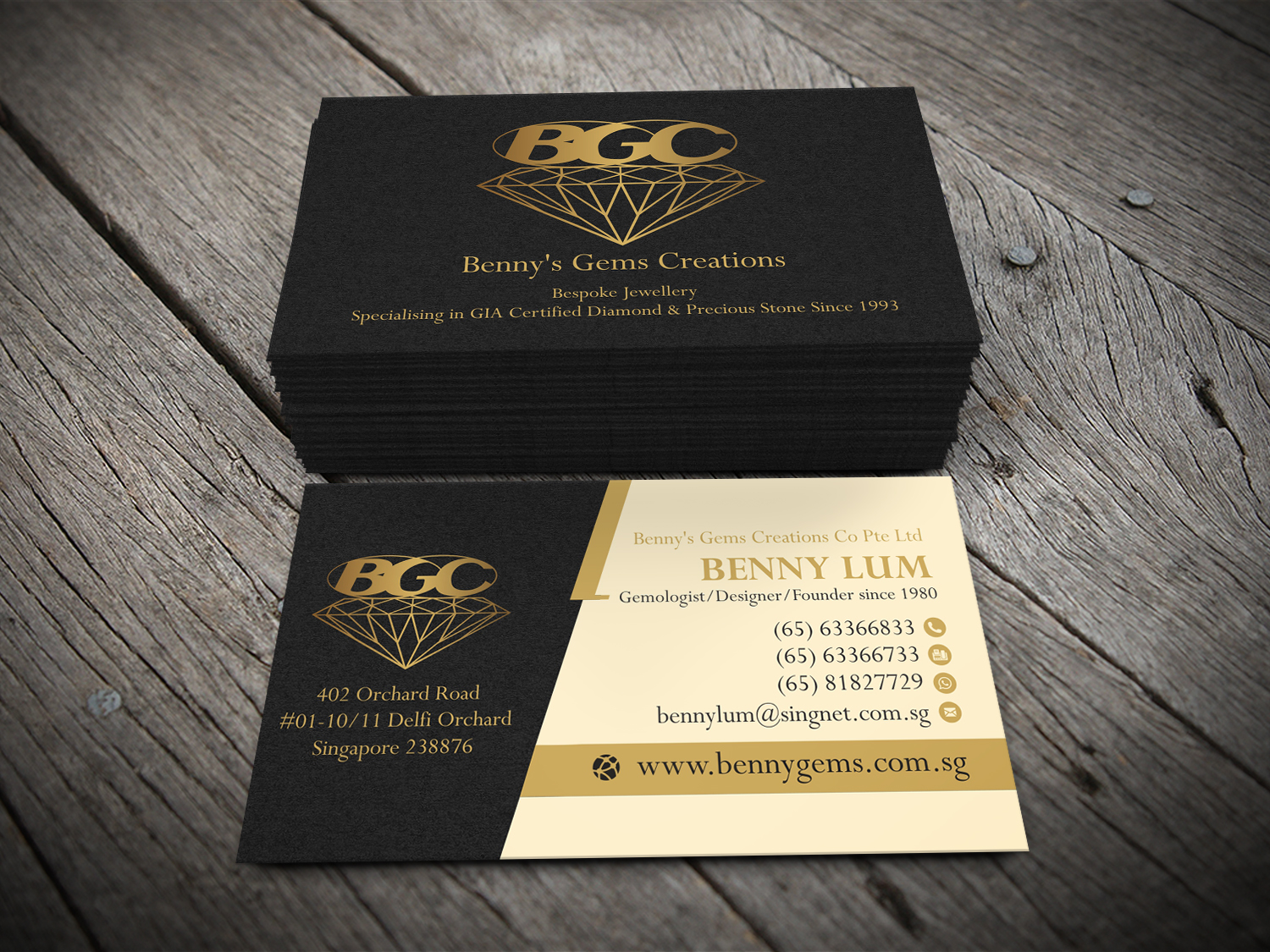 Professional upmarket jewelry store business card design for a business card design by alhemique1 for this project design 12695846 reheart