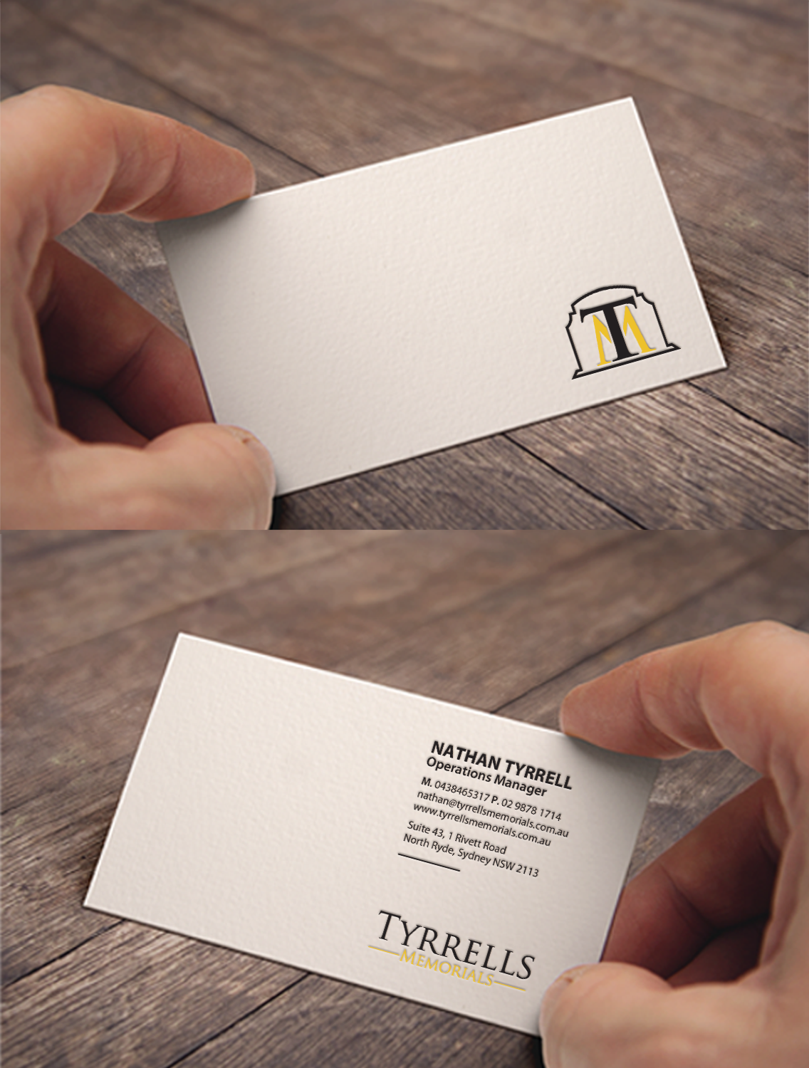 Serious professional business business card design for tyrrells business card design by chandrayaaneative for tyrrells memorials design 12677203 reheart Image collections