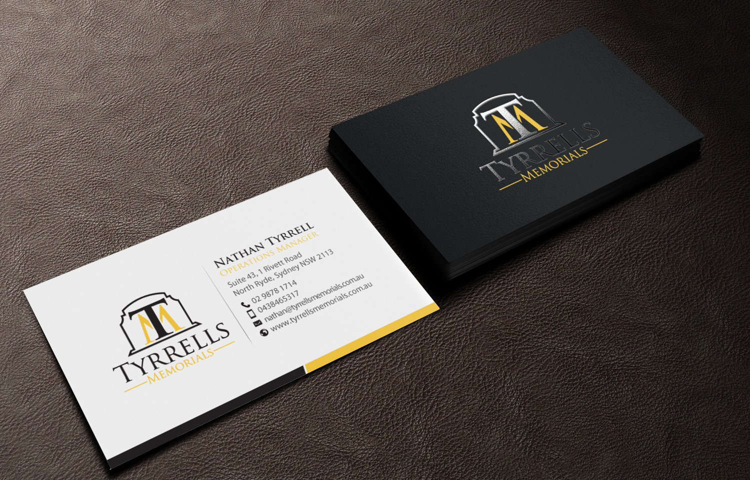 Serious professional business business card design for tyrrells business card design by chandrayaaneative for tyrrells memorials design 12677204 reheart Image collections