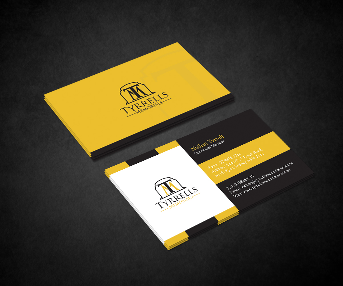 Serious professional business business card design for tyrrells business card design by fourtunedesign for tyrrells memorials design 12671684 reheart Image collections