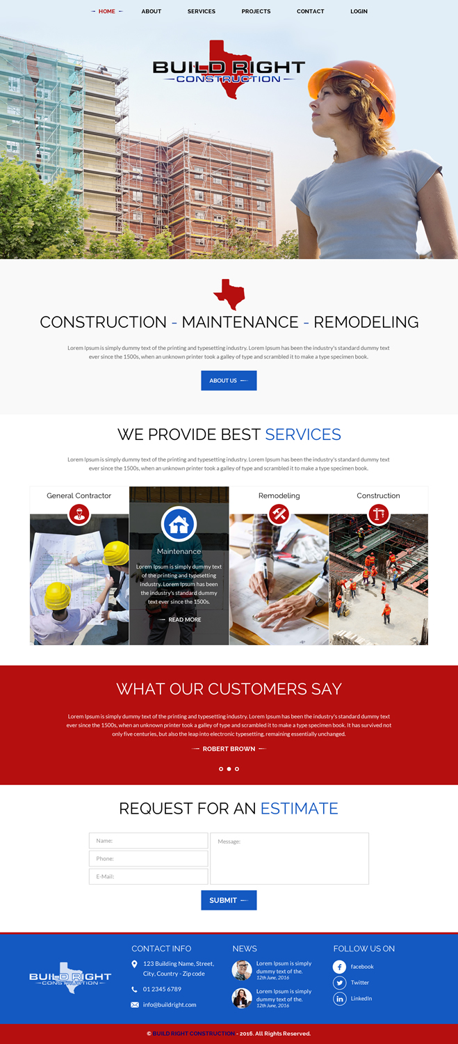 Colorful, Modern, Construction Web Design for Build Right ...