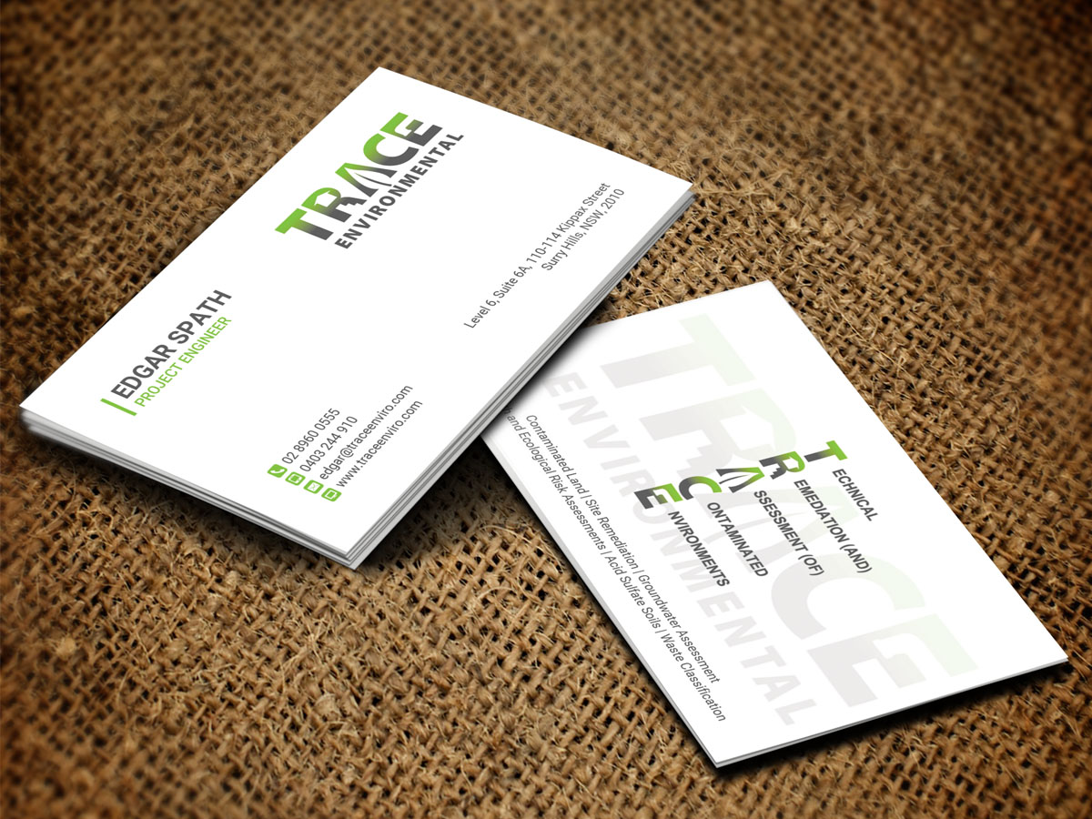 Modern professional business business card design for trace business card design by sandaruwan for trace environmental design 12708671 colourmoves Images