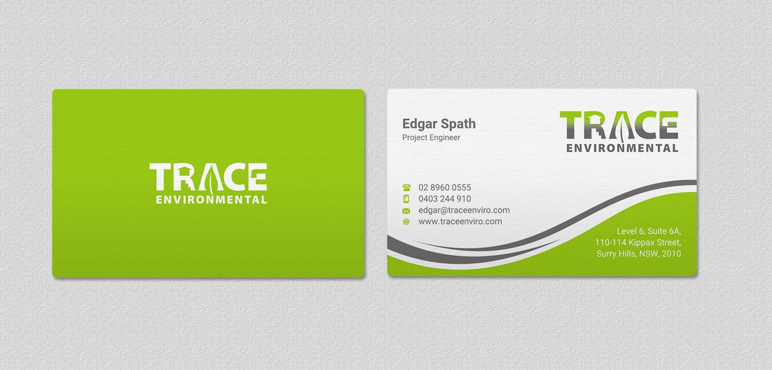 Modern professional business business card design for trace business card design by indianashok for trace environmental design 12716572 colourmoves Images