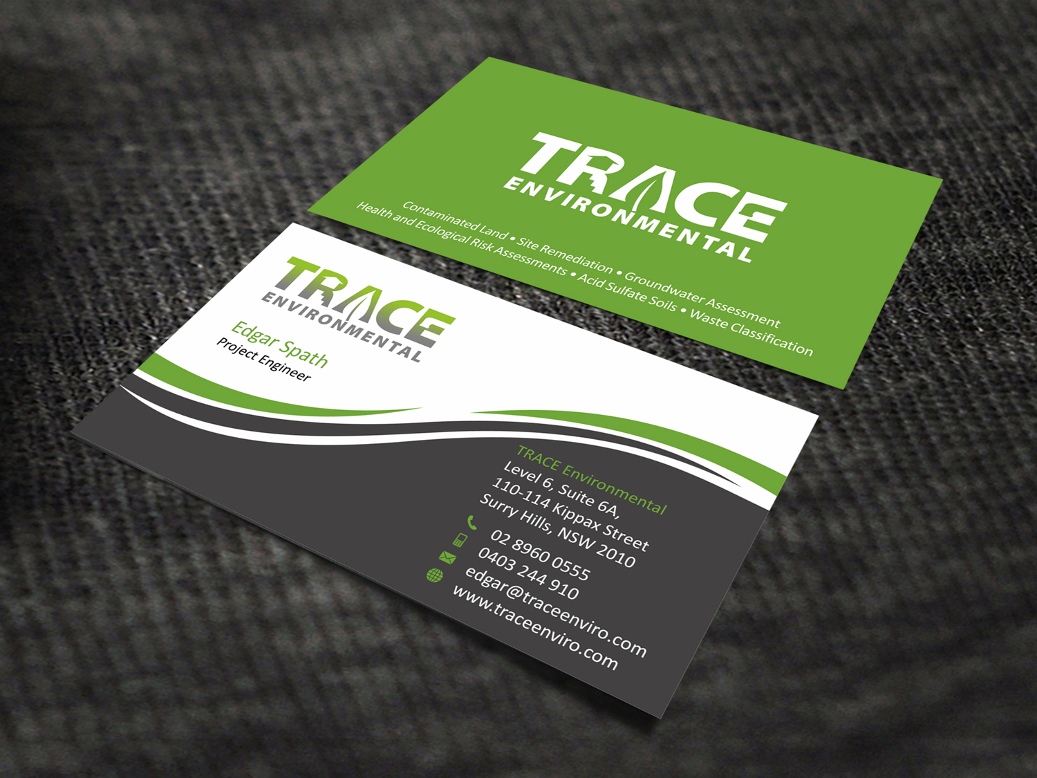 Modern professional business card design for trace environmental by business card design by skydesign for trace environmental needs an upgrade to its current business cards colourmoves Images