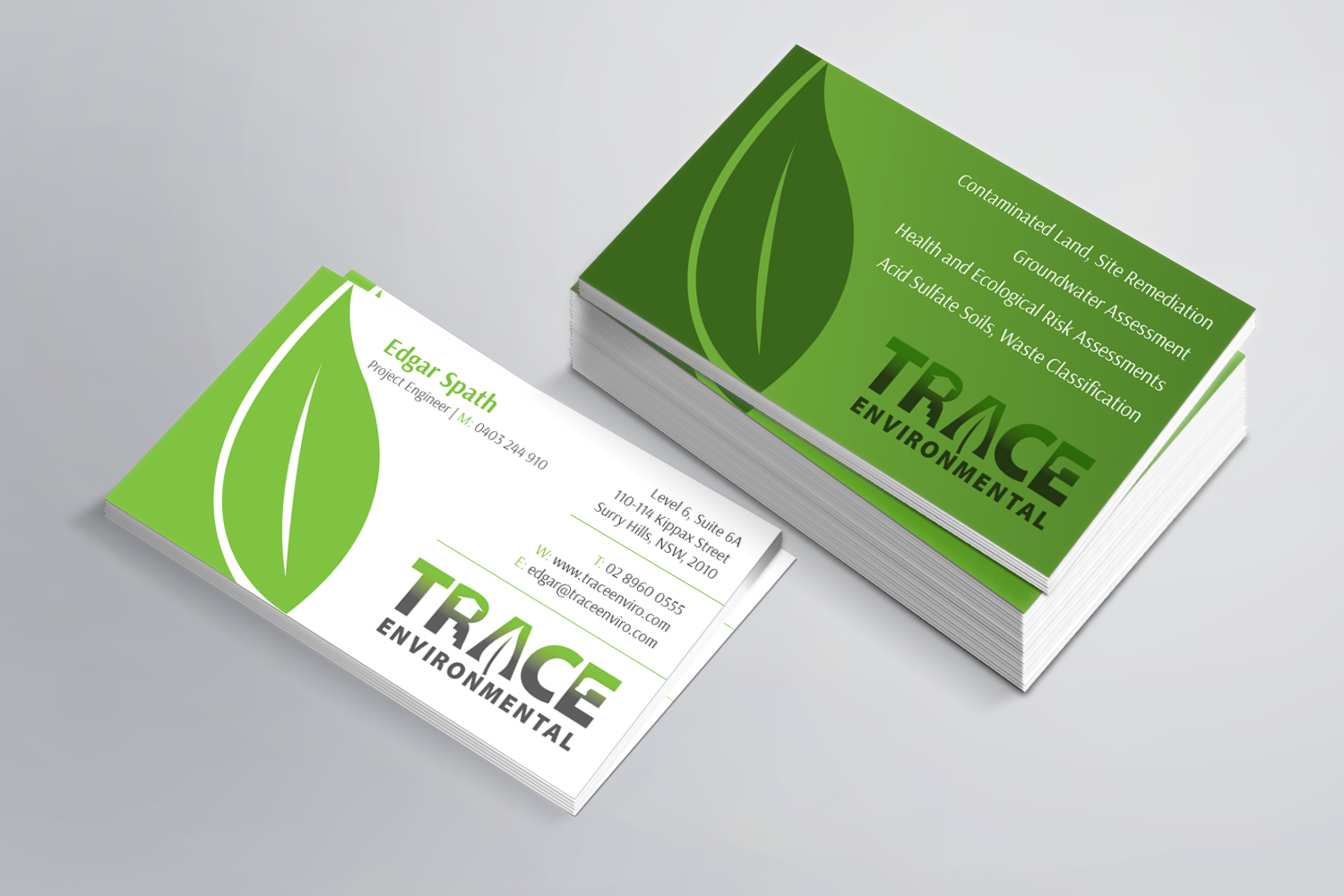Modern professional business business card design for trace business card design by kreative fingers for trace environmental design 12714987 colourmoves