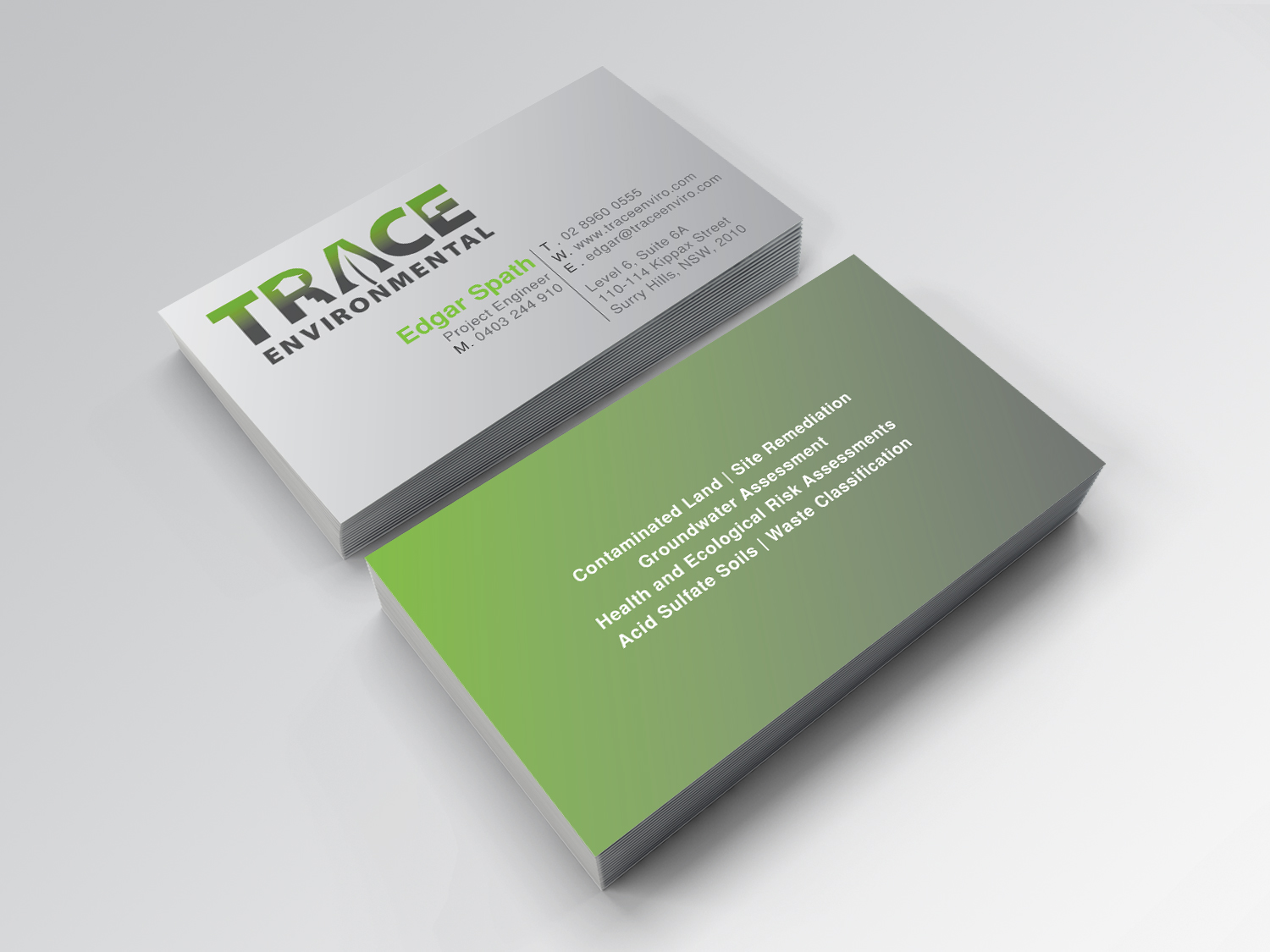 Modern professional business business card design for trace business card design by tanmoyamanik for trace environmental design 12697272 colourmoves Images