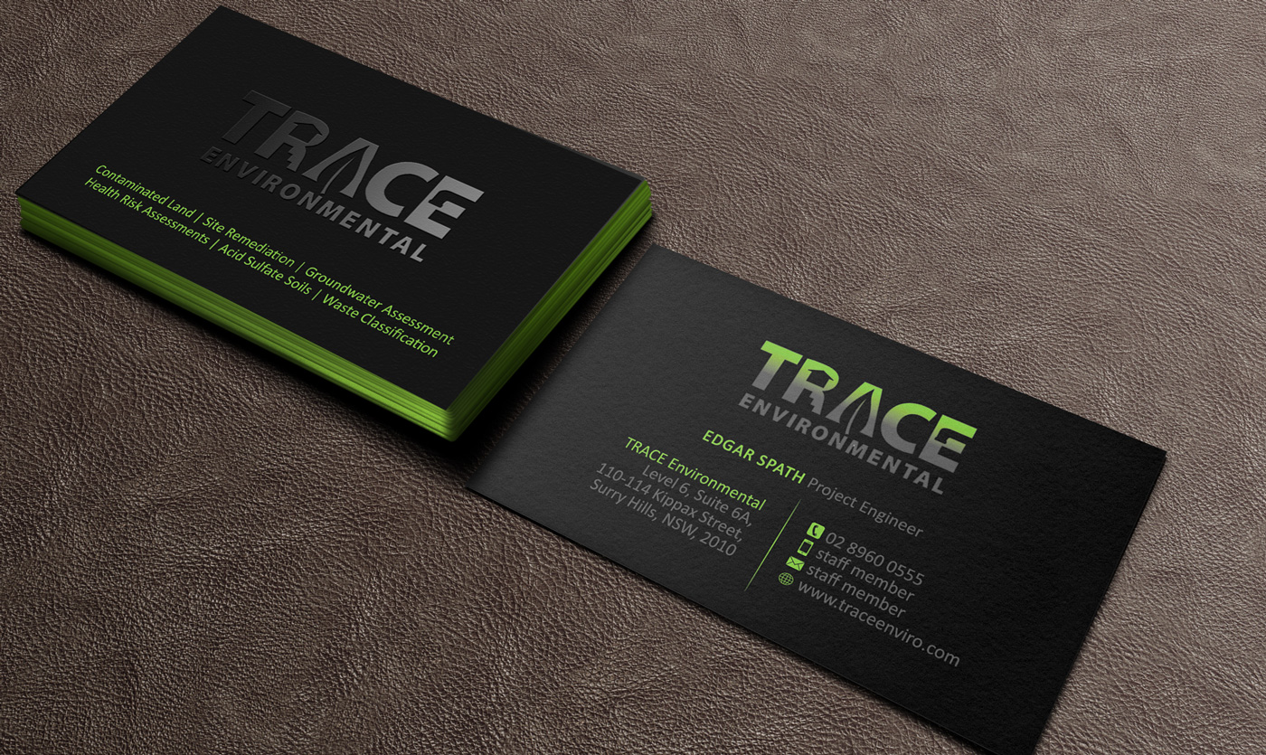 Modern professional business business card design for trace business card design by designs 2016 for trace environmental design 12703530 reheart Image collections
