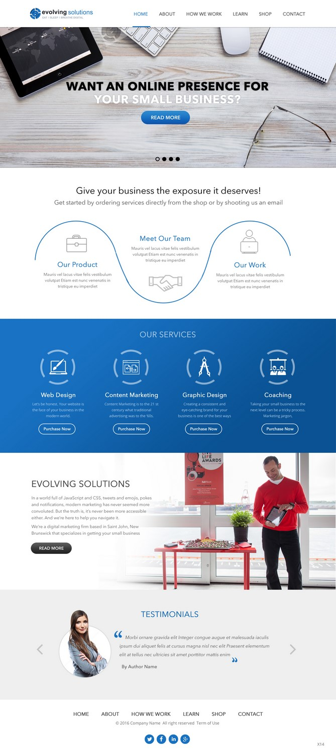 Modern, Bold, Marketing Web Design for Evolving Solutions by pb ...