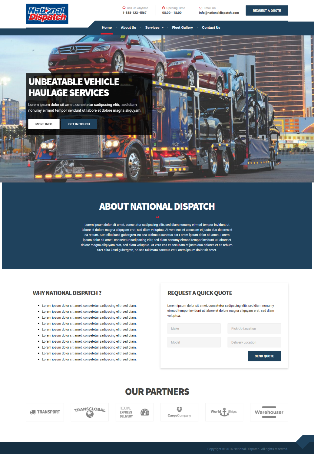 Professional, Serious, Business Web Design for National Dispatch LLC